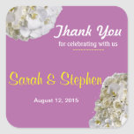 White Orchid Wedding Thank You Label Sticker Square Sticker