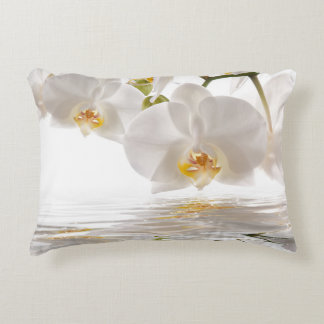White Orchids Accent Pillow