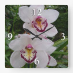 White Orchids Beautiful Tropical Flowers Square Wall Clock