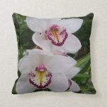 White Orchids Beautiful Tropical Flowers Throw Pillow