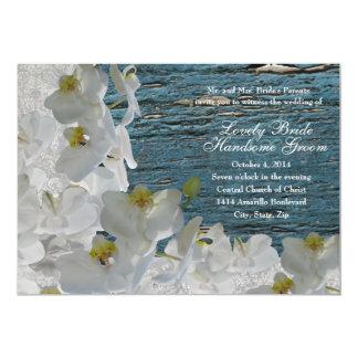 White Orchids Blue Wood Damask Wedding Invitation