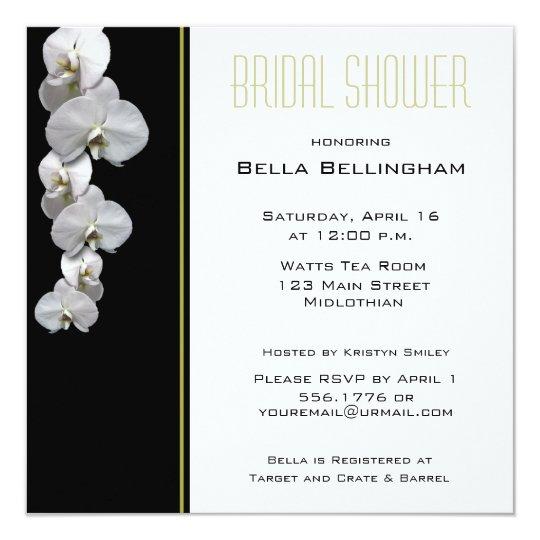 White Orchids Bridal Shower Invitation