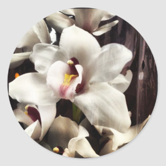 White Orchids by Debuxos Classic Round Sticker