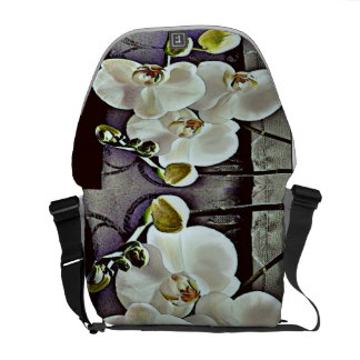 White Orchids Courier Bag