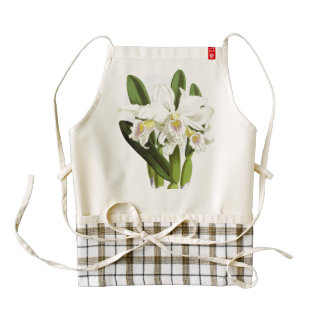 White Orchids Flowers Apron