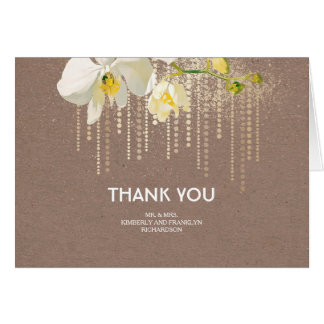 White Orchids Gold Glitter Wedding Thank You Card