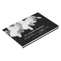 White Orchids Memorial or Funeral Guest Book