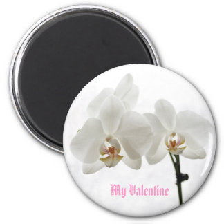 White Orchids My Valentine magnet