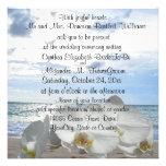 White Orchids Ocean Waves Wedding Announcement