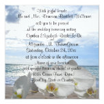 White Orchids Ocean Waves Wedding Announcement