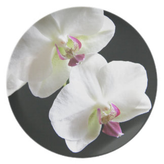 White Orchids on Black Melamine Plate