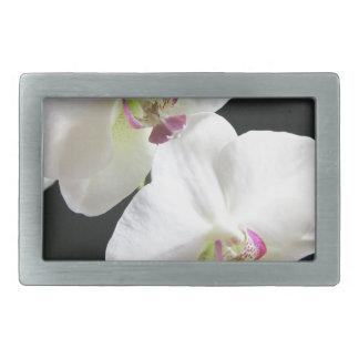 White Orchids on Black Rectangular Belt Buckle