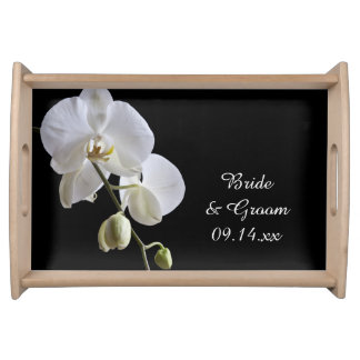 White Orchids on Black Wedding Serving Tray