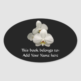 White Orchids Oval Sticker