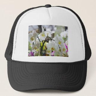 White orchids trucker hat
