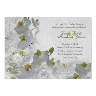 "White Orchids Vintage Damask Wedding Invitation 5"" X 7"" Invitation Card"