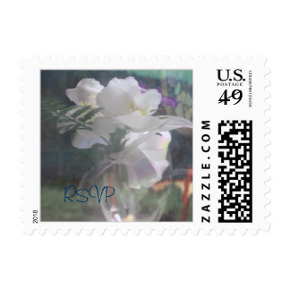 White Orchids Wedding RSVP Small Postage Stamps