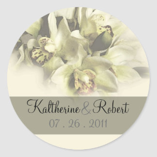 White orchids wedding save the date1 classic round sticker