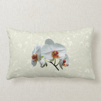 White Orchids With Orange Center Lumbar Pillow