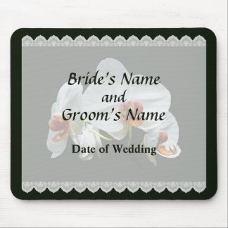 White Orchids With Orange Center Wedding Favors Mouse Pad