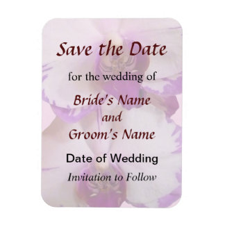 White Orchids With Purple Edges Save the Date Rectangular Photo Magnet