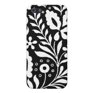 White Ornamental Lace on Black iPhone 4 Case