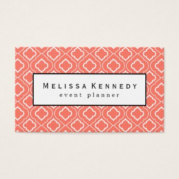 Professional Business White Ornamental Pattern Business Cards Coral