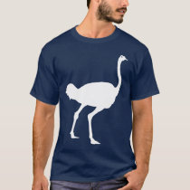 White Ostrich Bird Silhouette Graphic T-Shirt