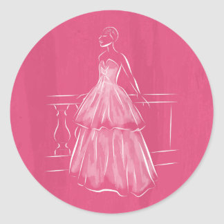 White Out Negative Space Gown Classic Round Sticker