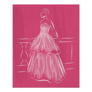 White Out Negative Space Gown Poster
