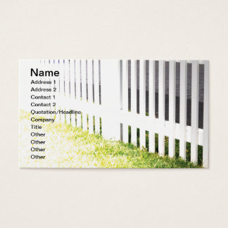 white outdoor picket fence business card