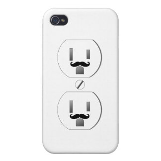 White Outlet with Mustache Design iPhone 4/4s Covers For iPhone 4