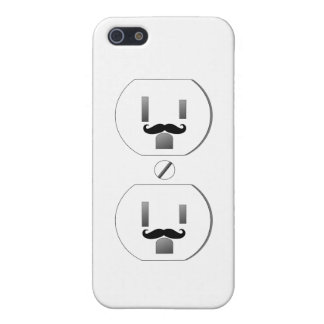 White Outlet with Mustache Design iPhone 5 iPhone 5 Cases