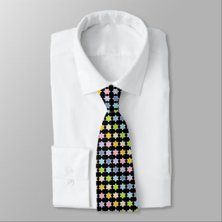 White Outlined Pastel Rainbow 6 Point Stars Neck Tie