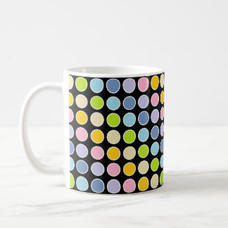 White Outlined Pastel Rainbow Polka Dots Coffee Mug