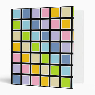 White Outlined Pastel Rainbow Squares 3 Ring Binder
