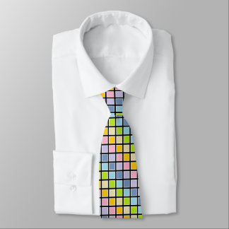 White Outlined Pastel Rainbow Squares Neck Tie
