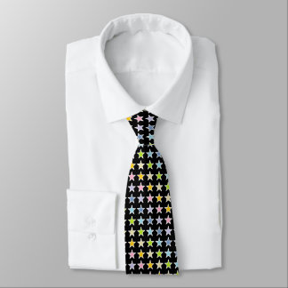 White Outlined Pastel Rainbow Stars Neck Tie