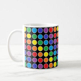 White Outlined Rainbow Polka Dots Coffee Mug