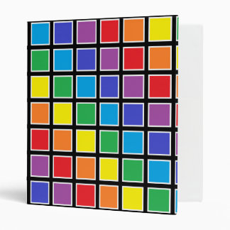 White Outlined Rainbow Squares 3 Ring Binder