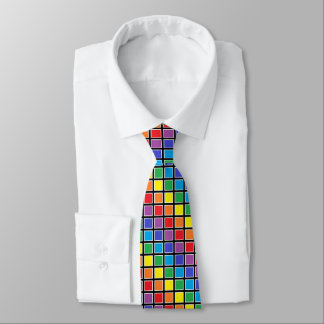 White Outlined Rainbow Squares Neck Tie