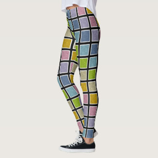 White Outlined Static Pastel Rainbow Squares Leggings