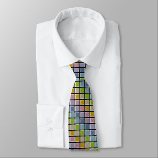 White Outlined Static Pastel Rainbow Squares Tie