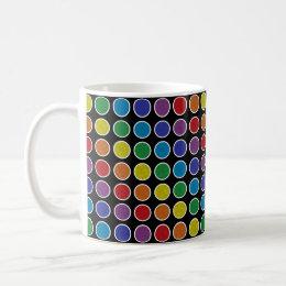 White Outlined Static Rainbow Polka Dots Coffee Mug