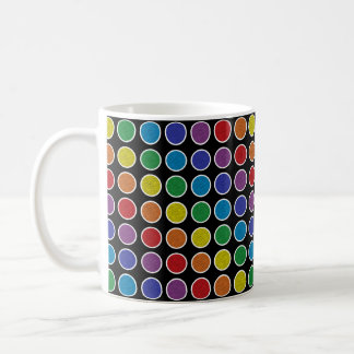 White Outlined Static Rainbow Polka Dots Coffee Mug