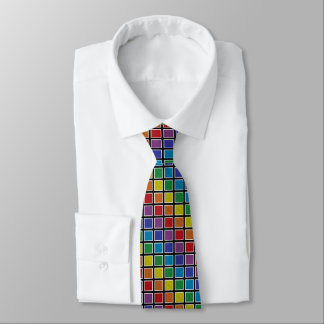 White Outlined Static Rainbow Squares Neck Tie