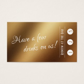 White Over Faux Gold, 3 Punch Drink Tickets