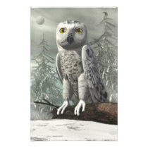 White owl - 3D render Stationery