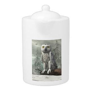 White owl - 3D render Teapot