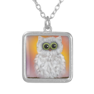 White Owl at Sunrise Painting Silver Plated Necklace